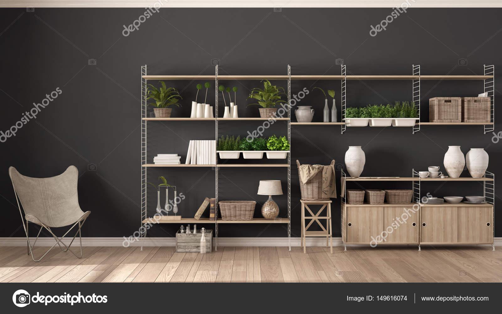 Progettazione Dinterni Fai Da Te : Design d interni eco grigio con libreria in legno gar verticale