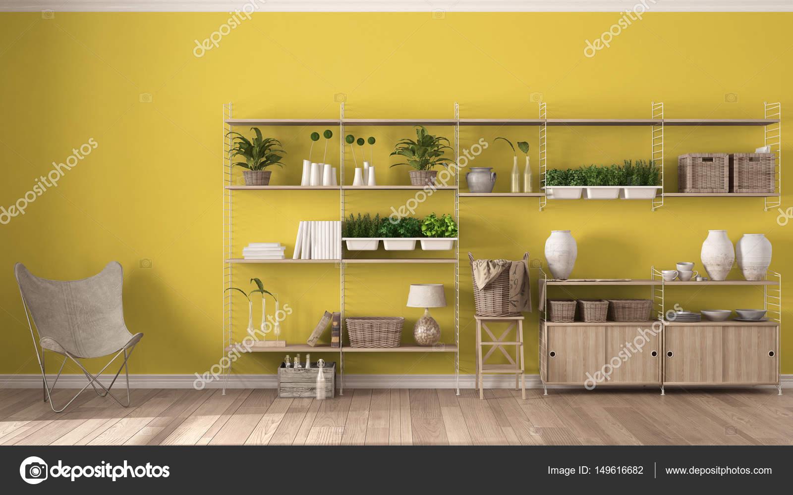 eco geel interieur met houten boekenkast diy verticale g stockfoto