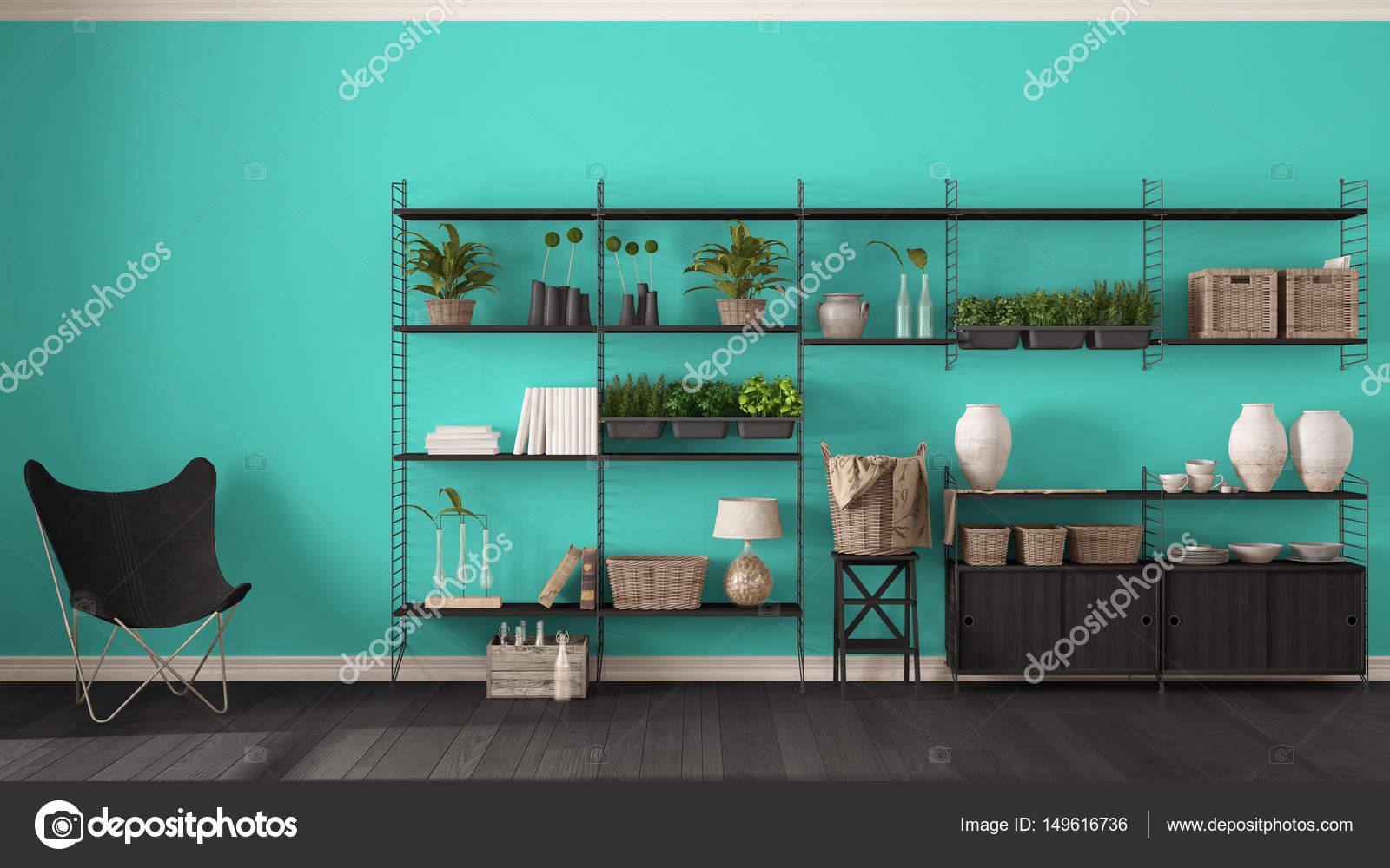 Progettazione Dinterni Fai Da Te : Design d interni eco turchese con libreria in legno fai da te
