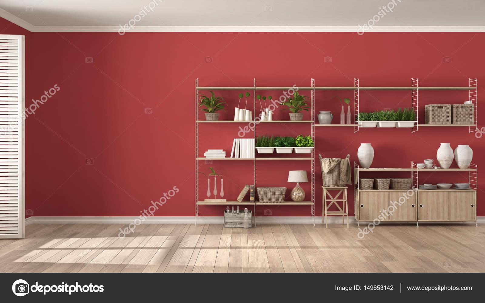 eco witte en rode interieur met houten boekenkast diy ver stockfoto