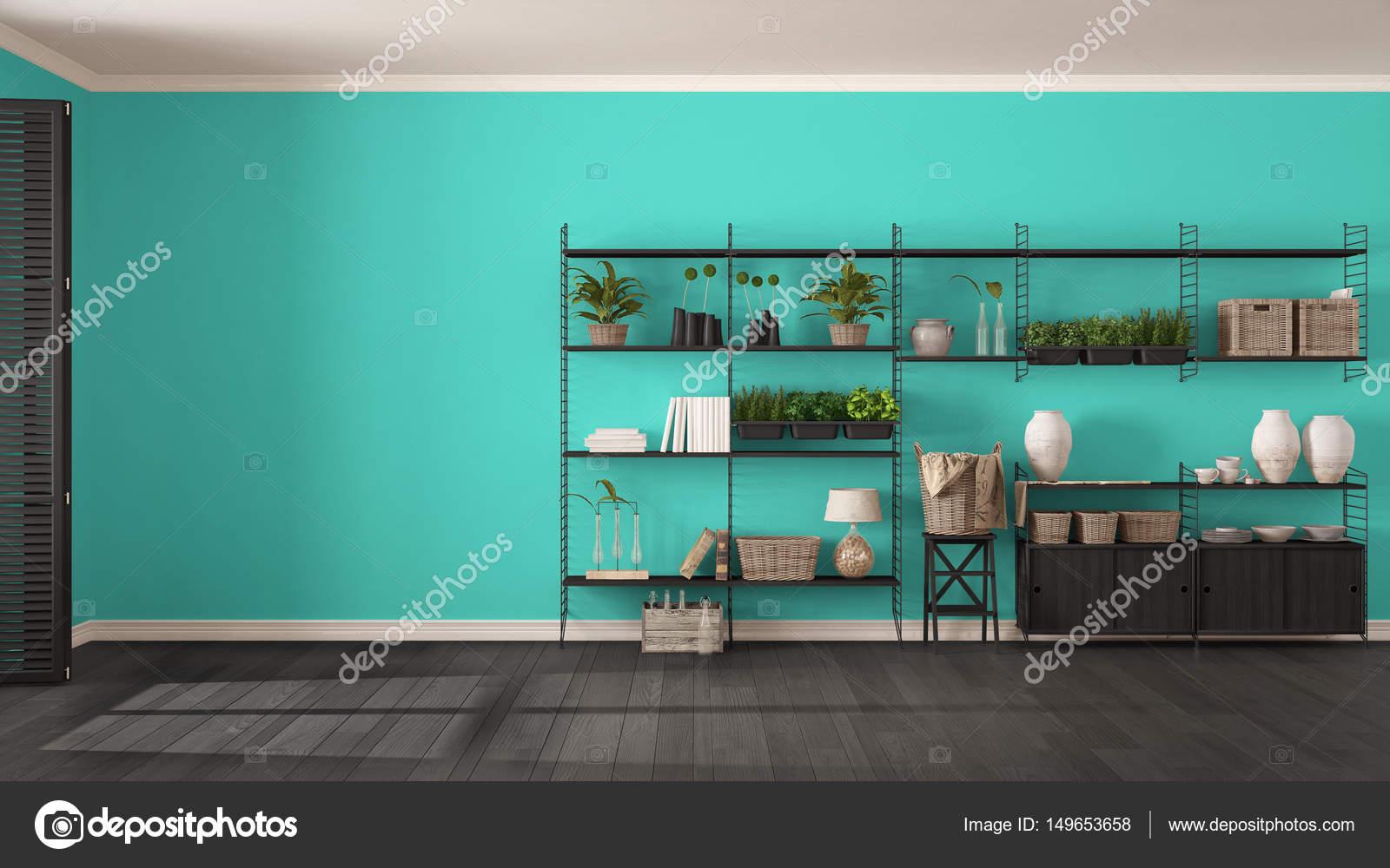 Eco gris et turquoise design d\'intérieur avec étagère en bois, di ...