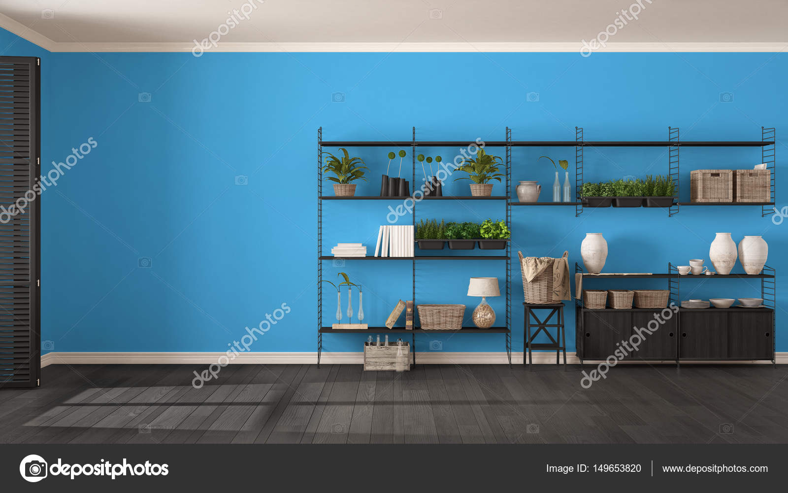 Eco grijze en blauwe interieur met houten boekenkast, diy ver ...