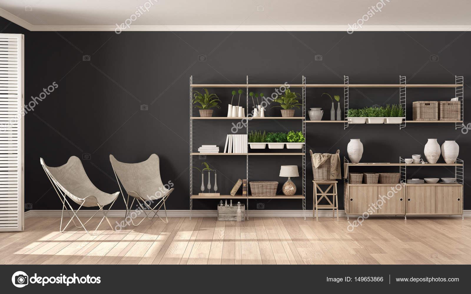 Eco witte en grijze interieur met houten boekenkast, diy ve ...