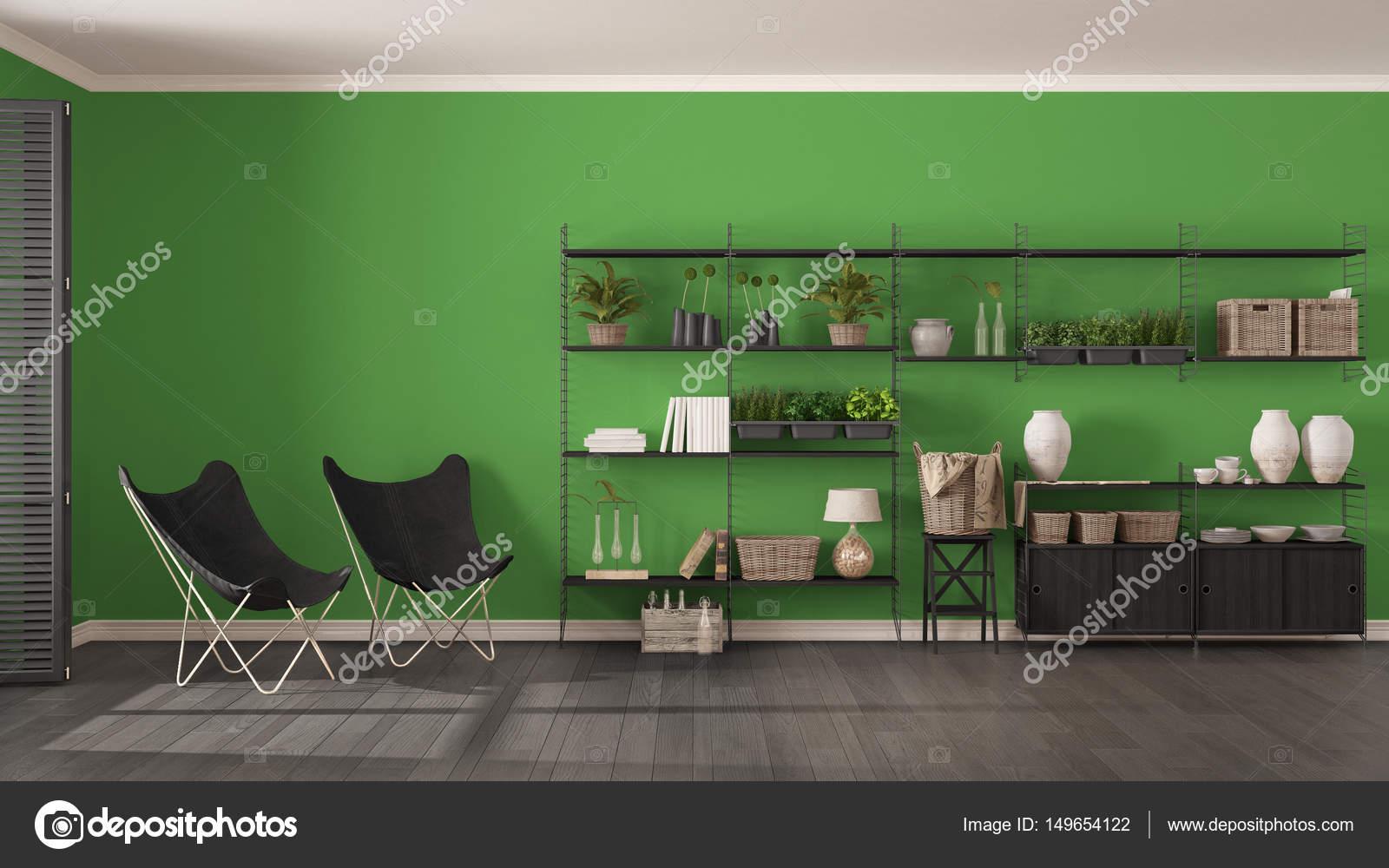 Eco grijs en groen interieur met houten boekenkast, diy ve ...