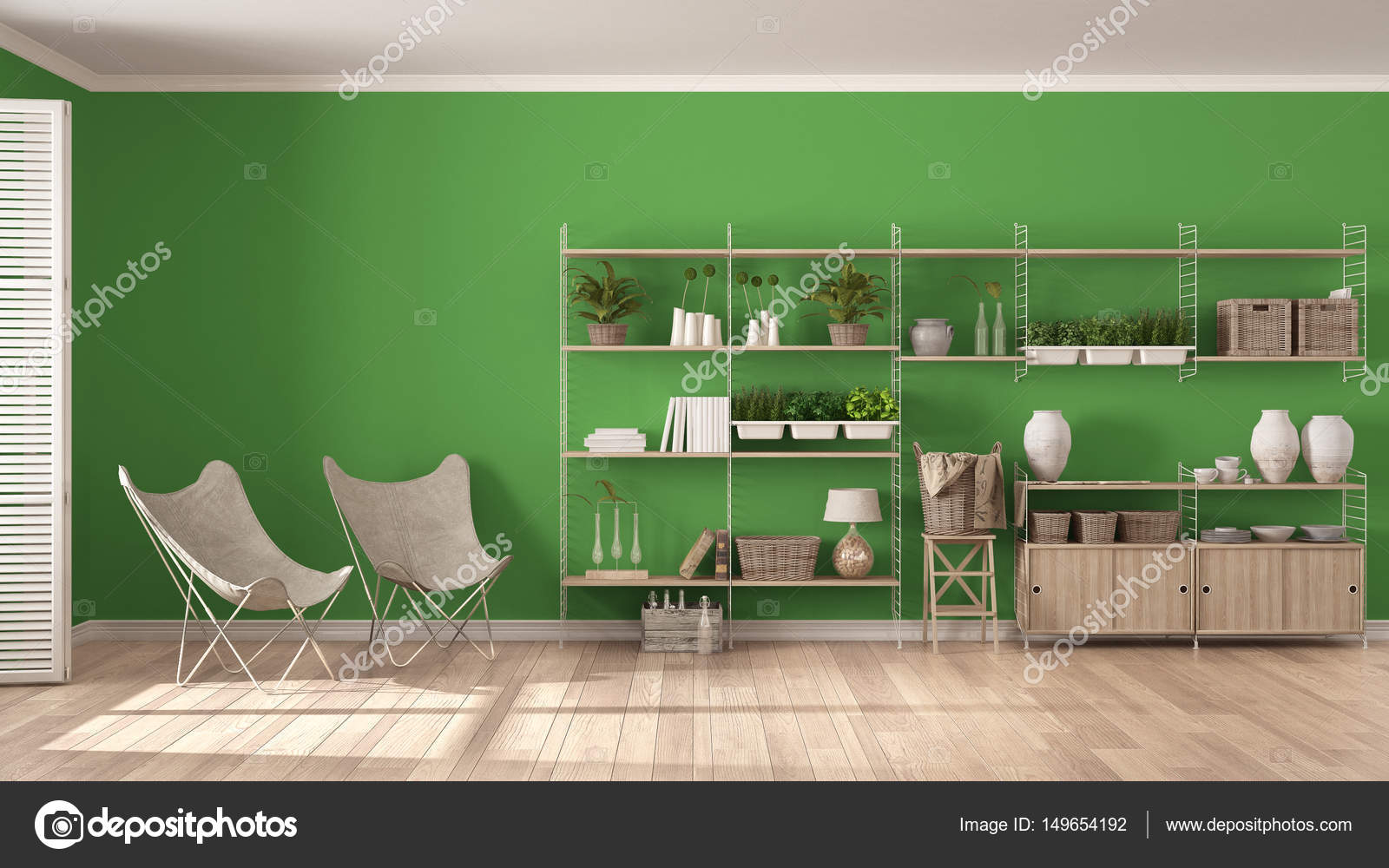 Eco design d\'intérieur blanc et vert avec étagère en bois, bricolage ...