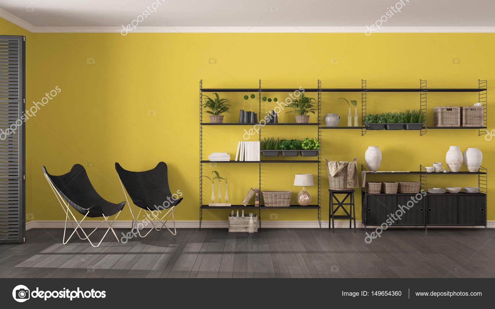 eco grijs en geel interieur met houten boekenkast diy v stockfoto