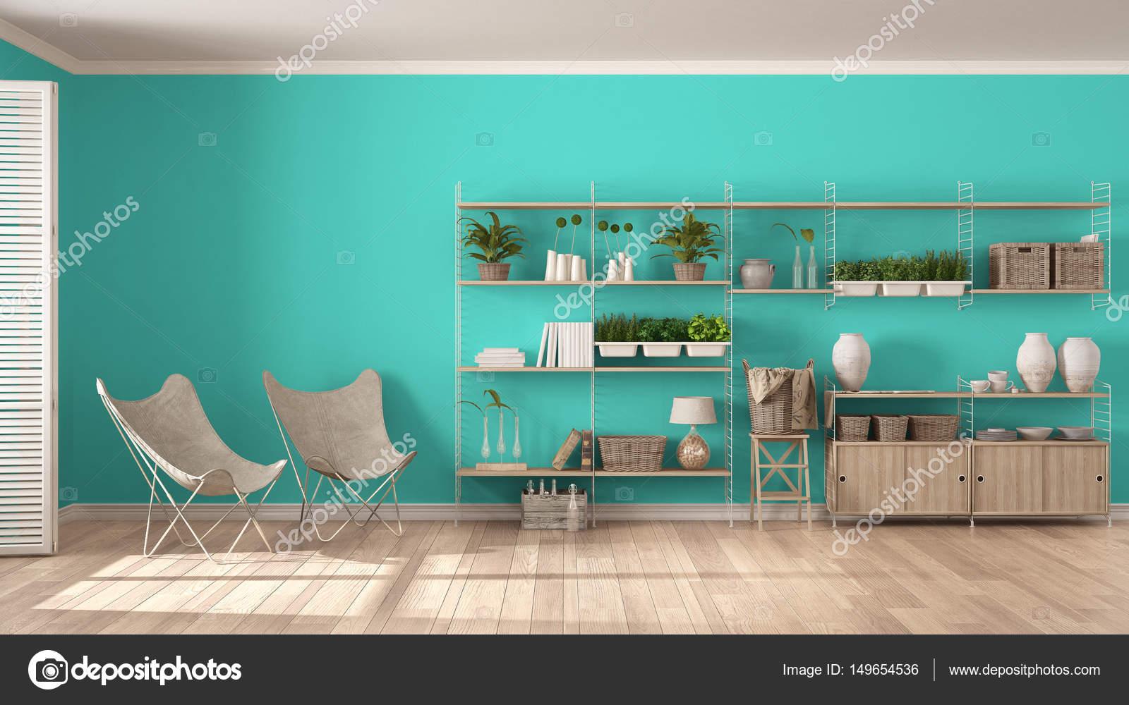 Eco design d\'intérieur blanc et turquoise avec étagère en bois, d ...