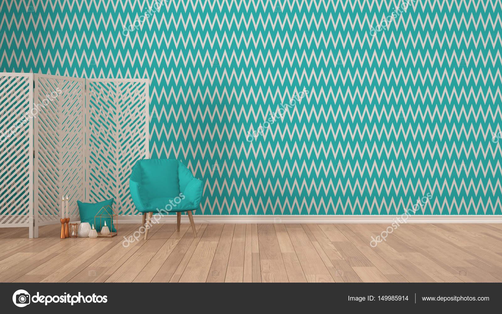Escandinavo Minimalista Fundo Colorido Com Poltrona Tela Velas E Decoracao Em Parquete Papel De Parede Espinha Peixe Turquesa Design Interiores