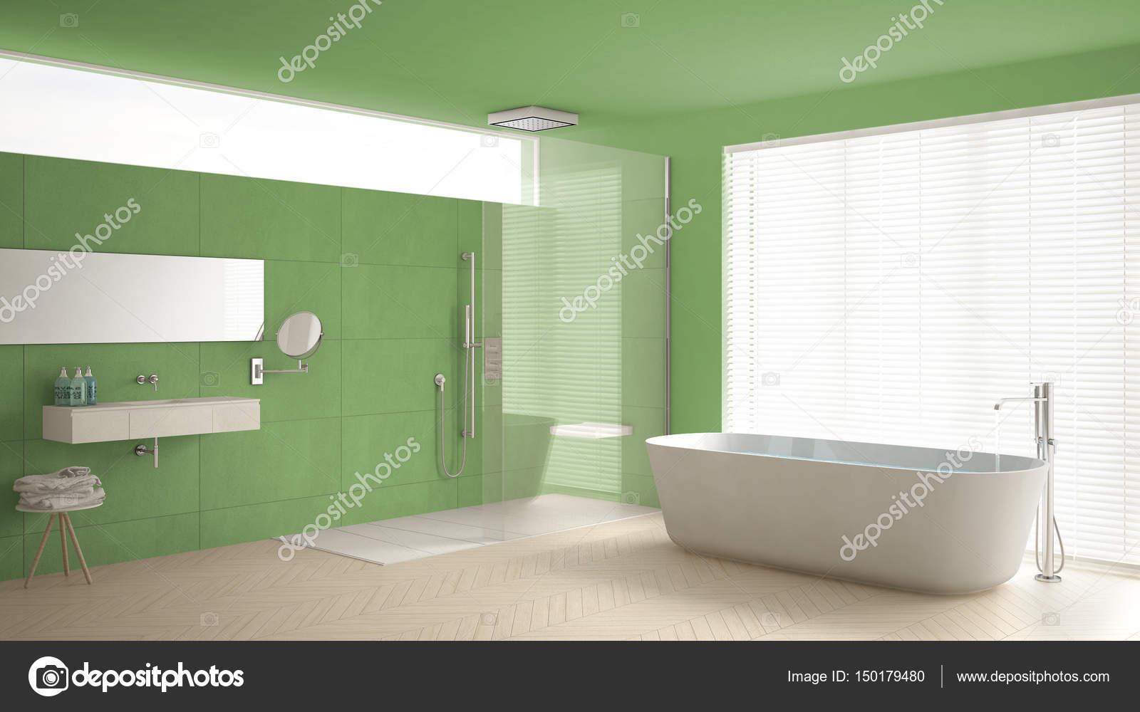 Stanza da bagno con vasca e doccia, pavimento in parquet e m ...