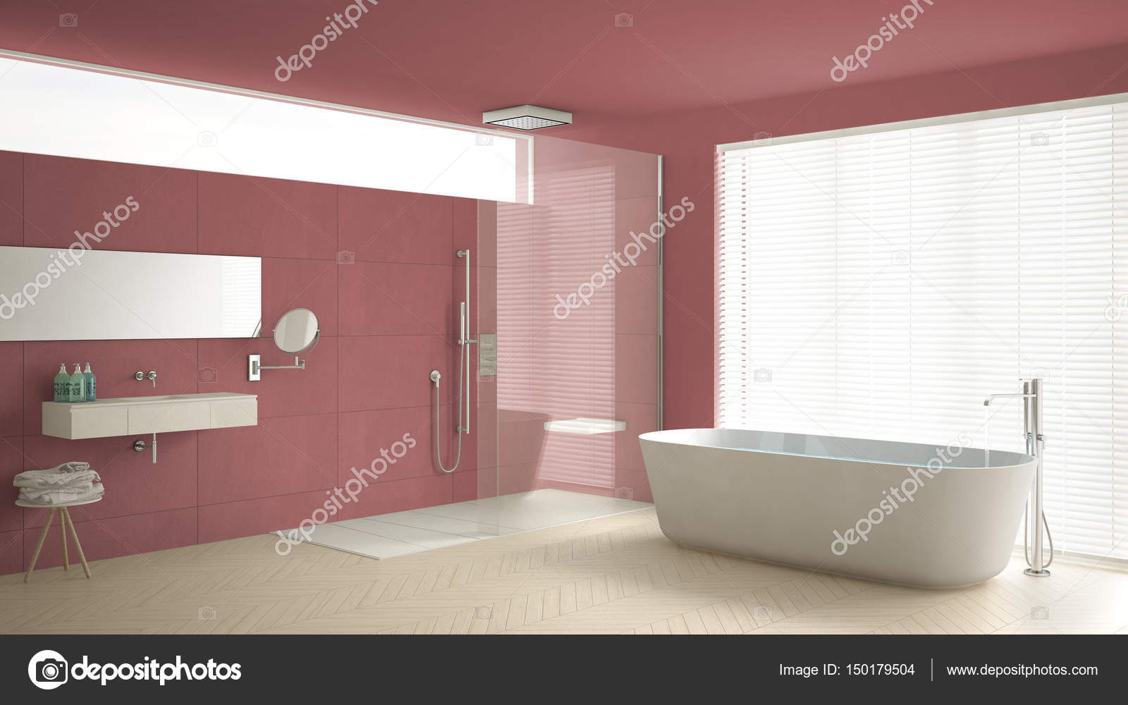 Minimalista cuarto de baño con bañera y ducha, piso de parquet y m ...