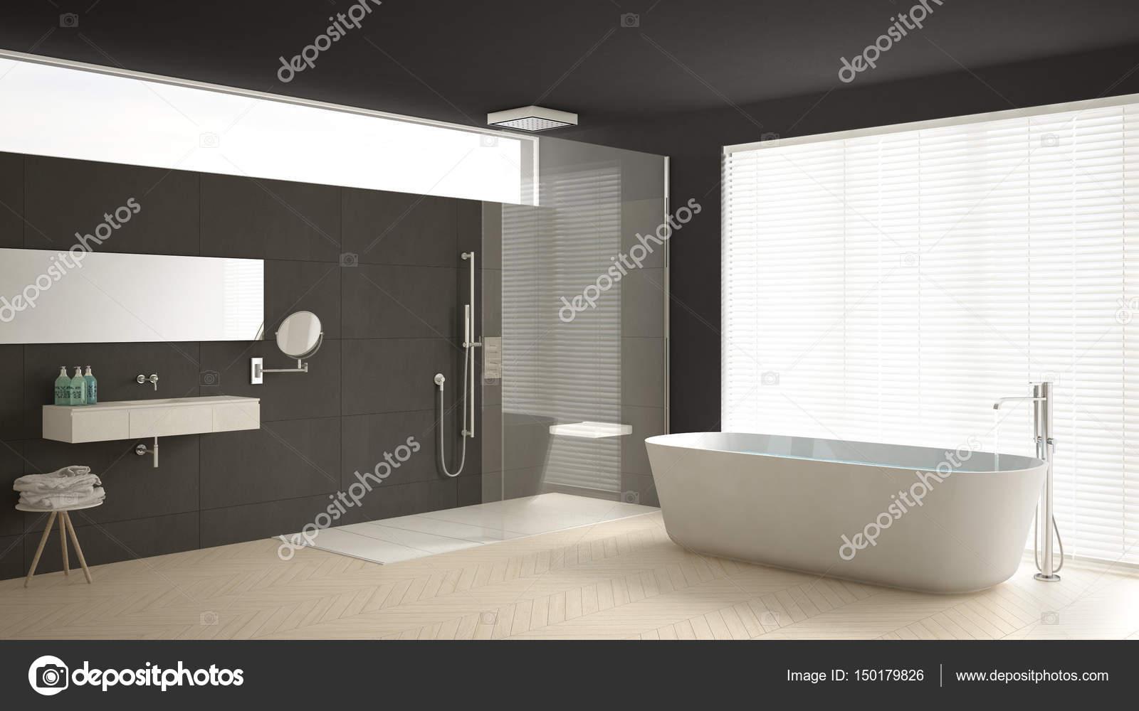 Stanza da bagno con vasca e doccia pavimento in parquet e m minimalista foto stock archiviz - Bagno in parquet ...