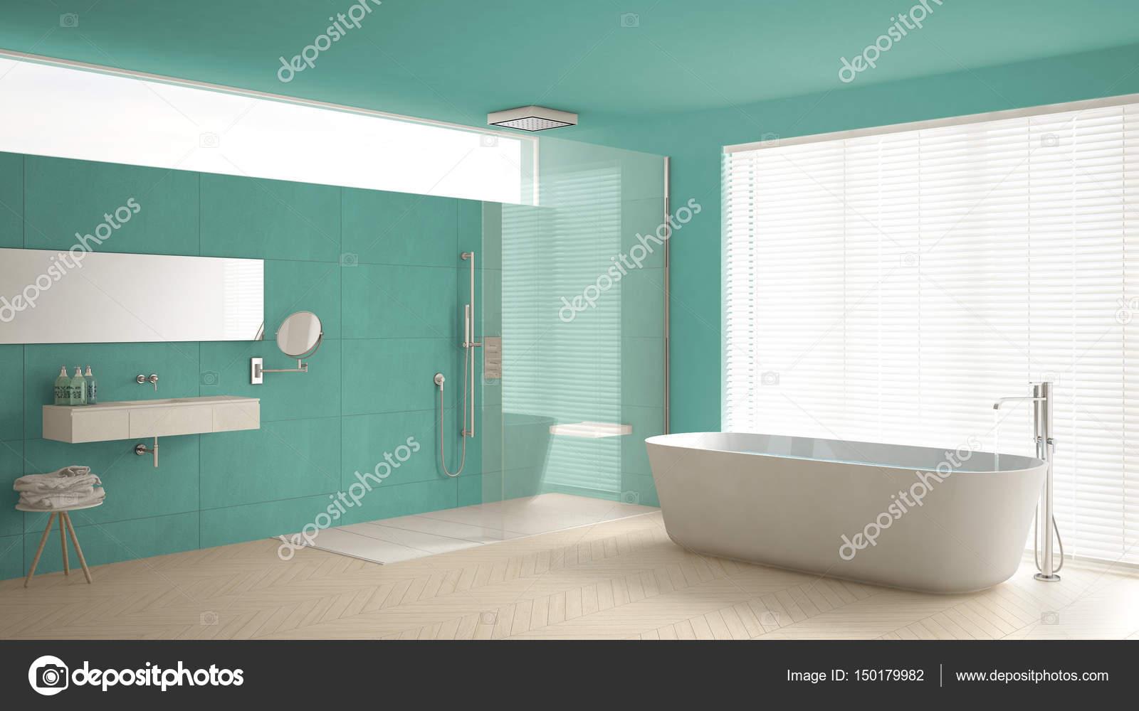 Piastrelle Bagno Turchese : Stanza da bagno con vasca e doccia pavimento in parquet e m