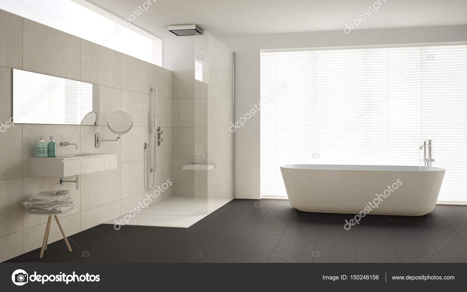 Minimalistische badkamers met badkuip en douche parketvloer en m