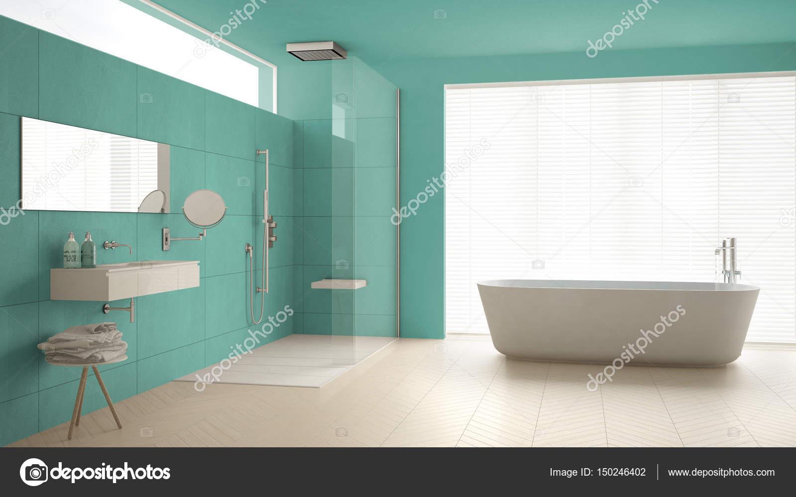 Minimalistische badkamers met badkuip en douche, parketvloer en m ...
