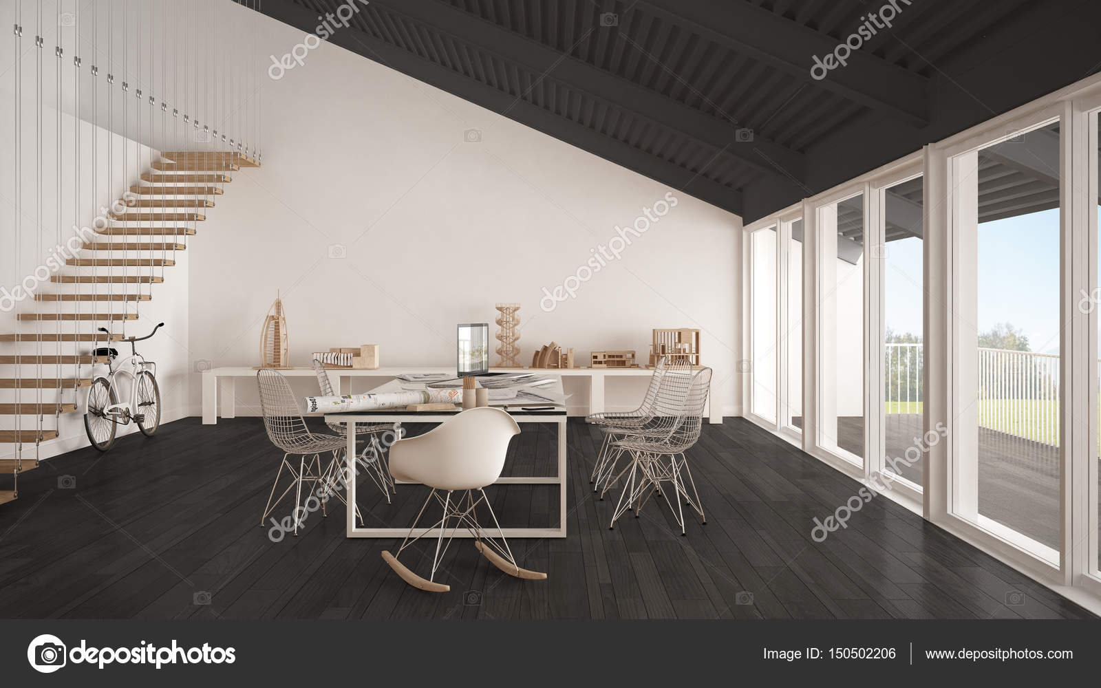 Minimalist white and gray office, architect and planning departm ...