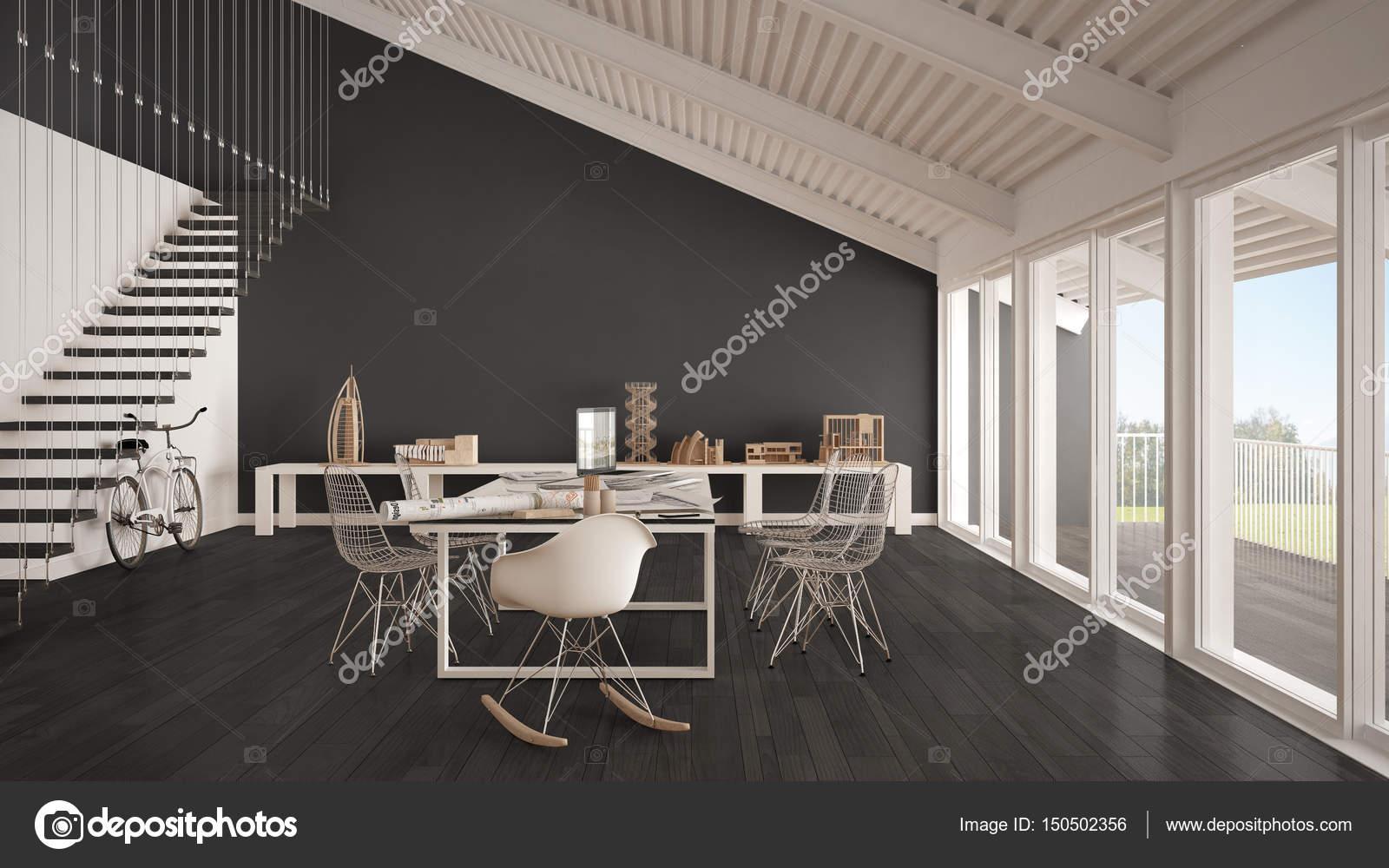 Ufficio Bianco E Grigio : Ufficio minimalista bianco e grigio architetto e dipartimento di