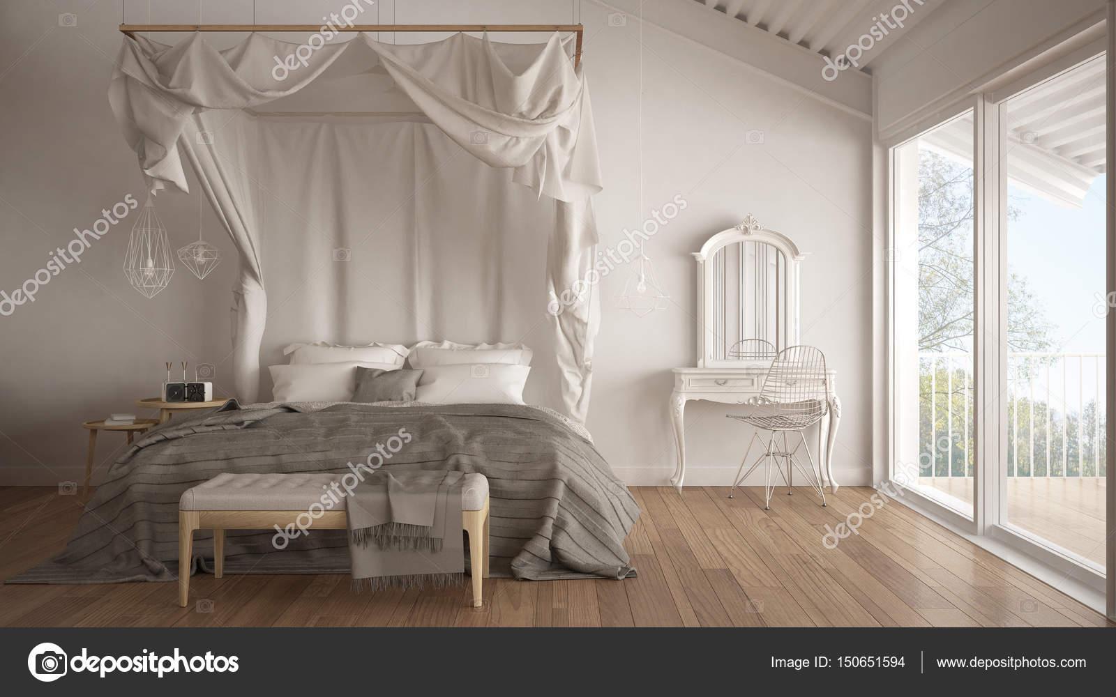 Hemelbed in minimalistische witte slaapkamer met groot raam, scandi ...