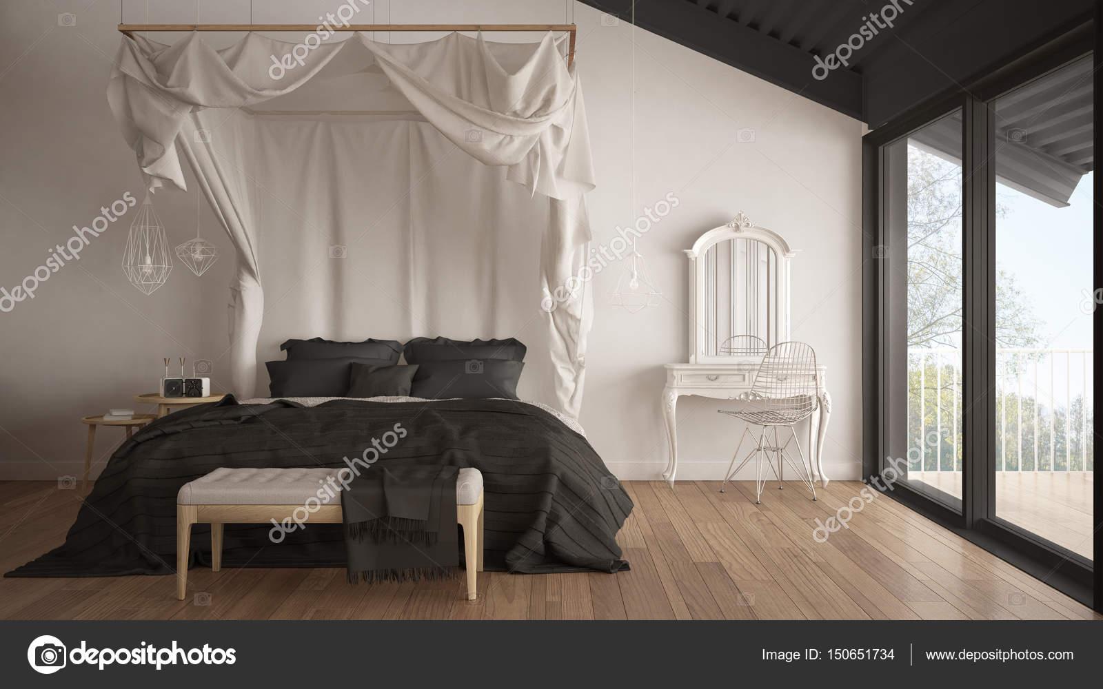 Hemelbed in minimalistische witte en grijze slaapkamer met grote