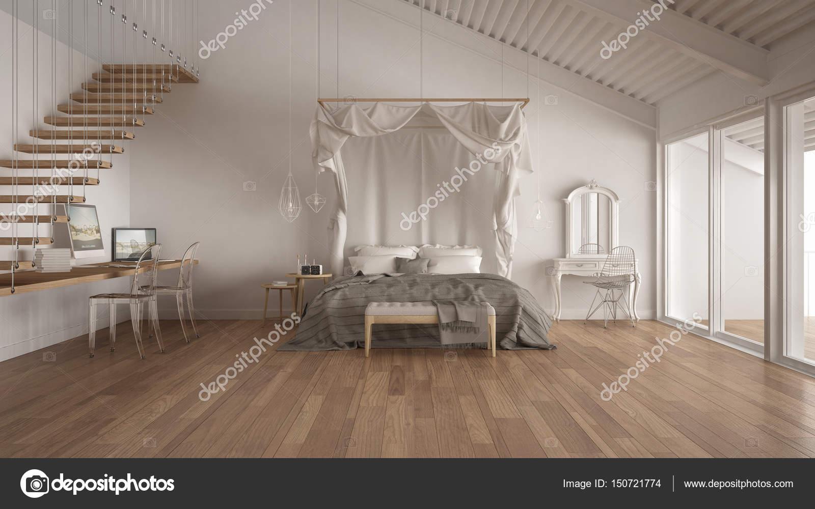 Himmelbett In Minimalistische Weiße Schlafzimmer Mit Nach Hause Arbeitsplatz,  Skandinavische Klassische Innenarchitektur U2014 Foto Von ArchiVIz