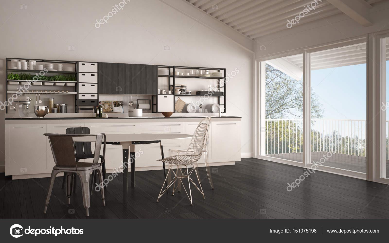 Cucina In Legno Bianco Minimalista Grande Finestra Panoramica