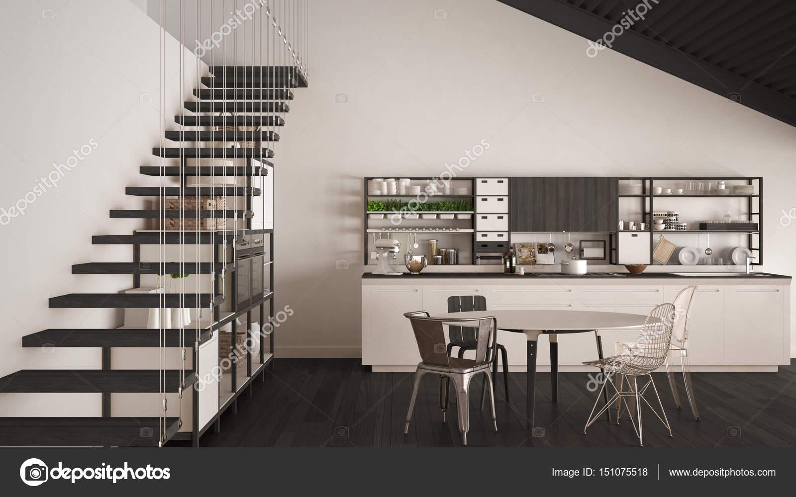 Minimalistische witte en grijze houten keuken loft met trappen