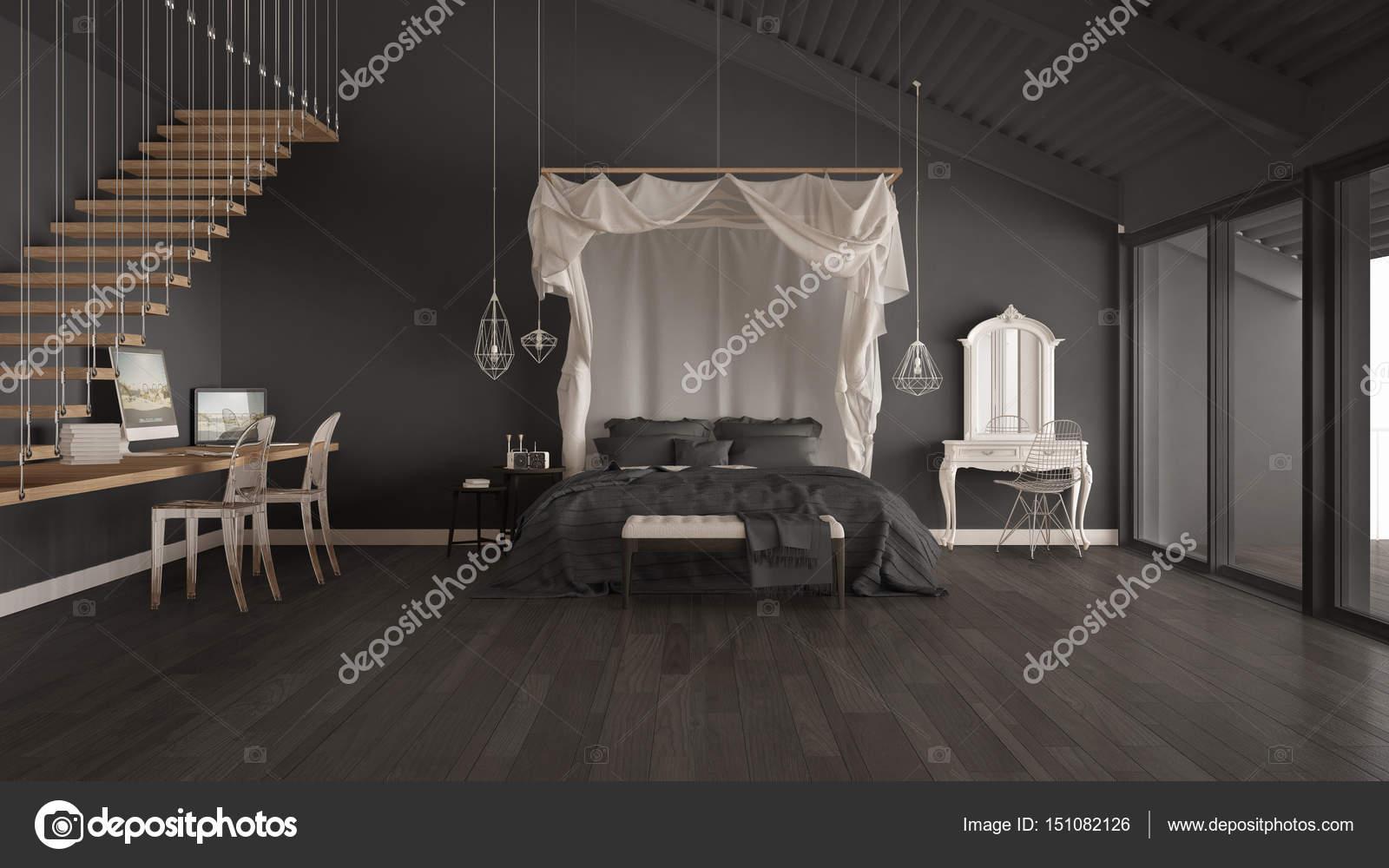 Himmelbett In Minimalistischen Grau Schlafzimmer Mit Nach Hause Arbeitsplatz,  Skandinavische Klassische Innenarchitektur U2014 Foto Von ArchiVIz