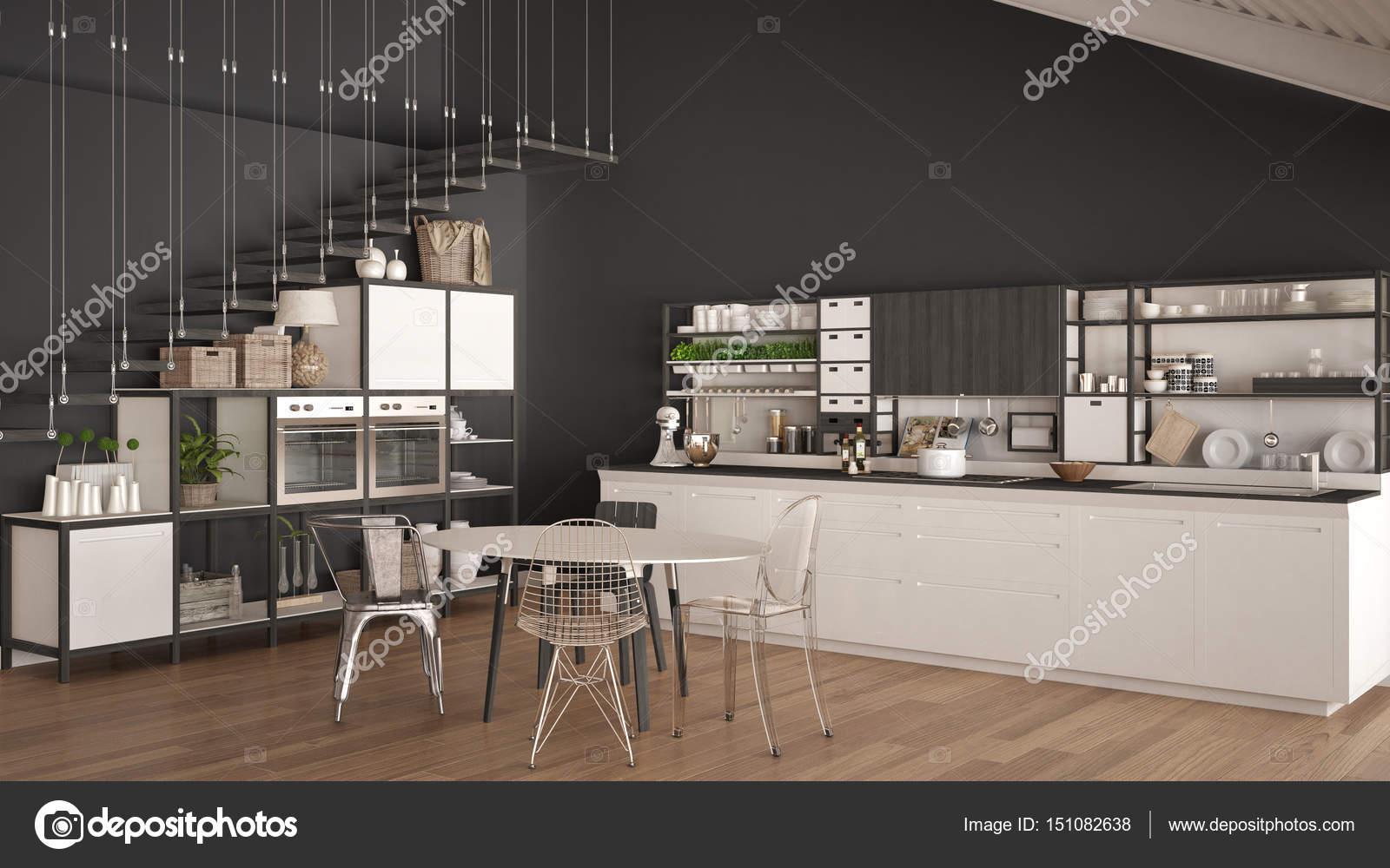Witte Minimalistische Woonkeuken : Minimalistische witte en grijze houten keuken loft met