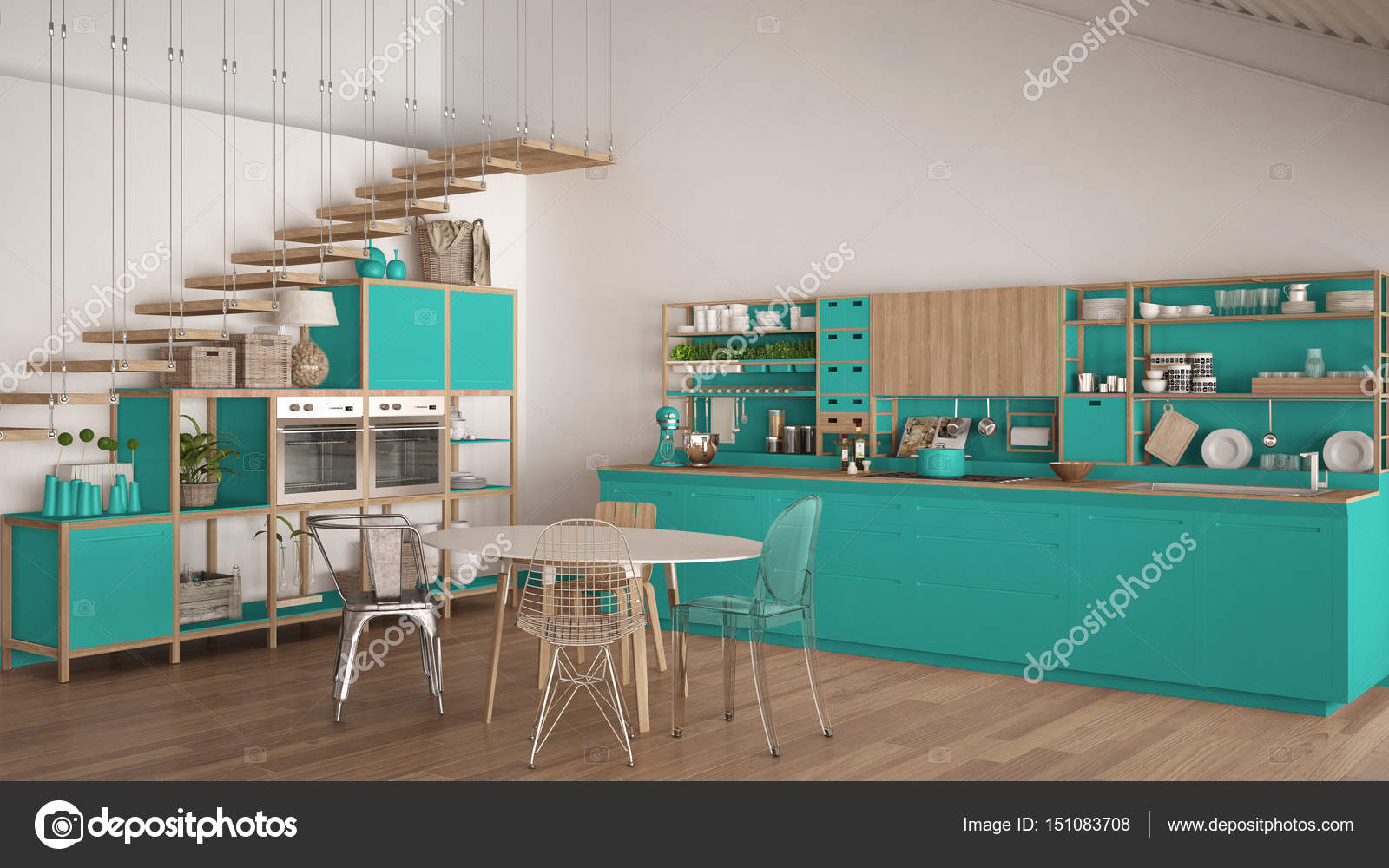 Minimalist turquoise and white wooden kitchen, loft with stairs ...
