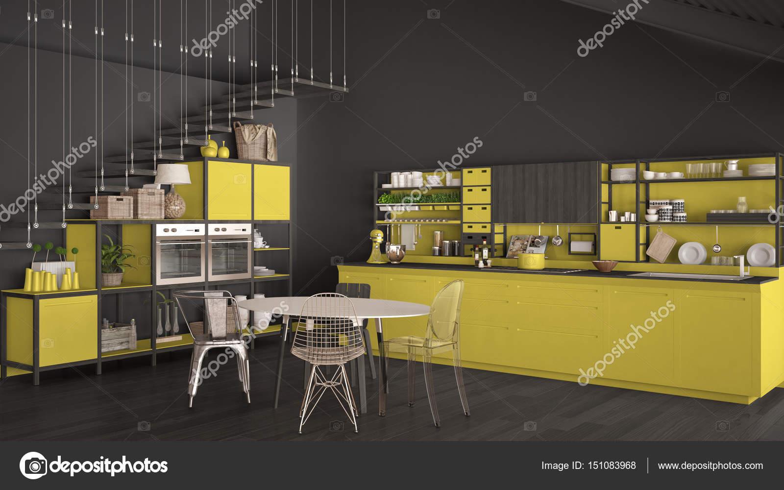 Cucina minimalista gialla e grigia in legno, soppalco con scale, cla ...