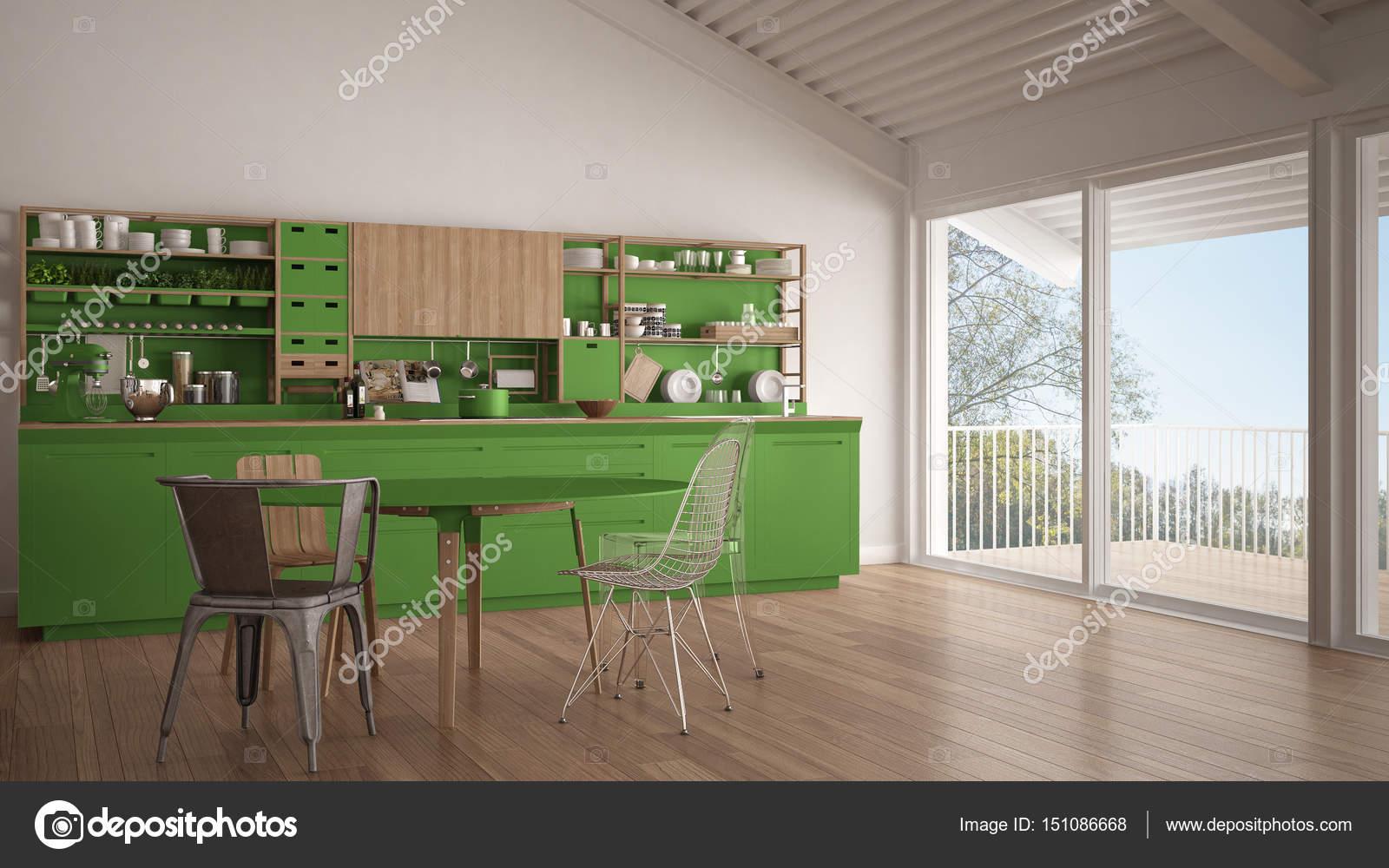 Minimalistische weiße und grüne Küche aus Holz, großen Panorama ...
