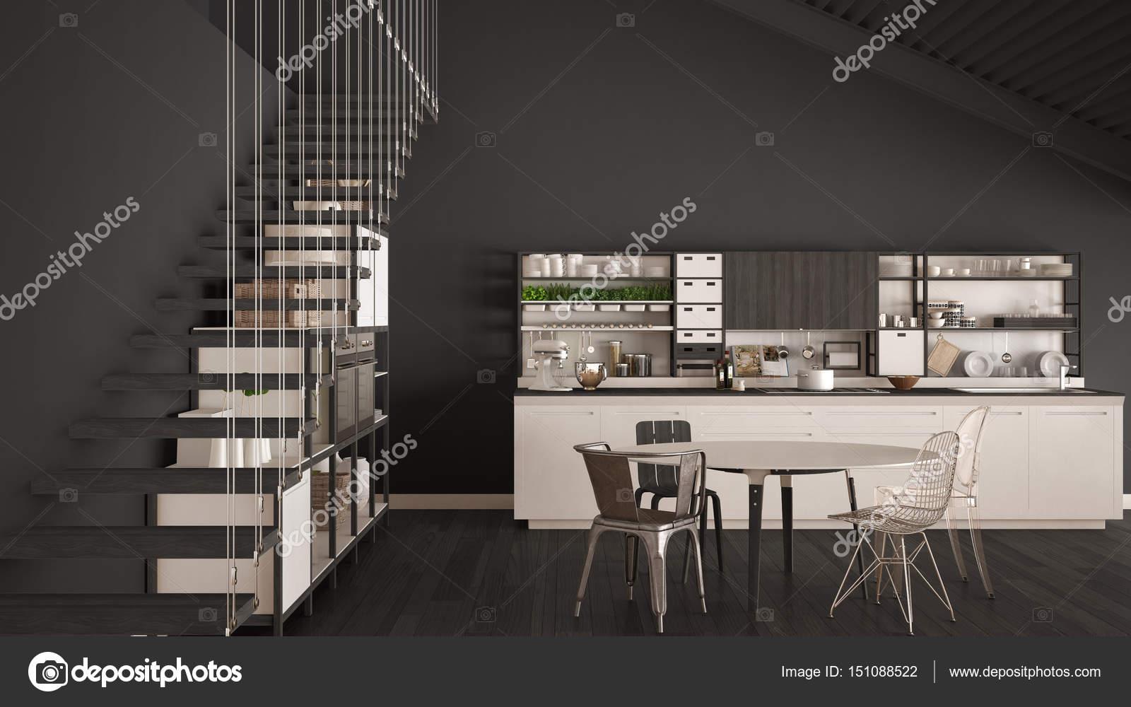 Cuisine Minimaliste Blanc Et Gris En Bois, Mezzanine Avec Escalier, Clasu2013  Images De Stock Libres De Droits