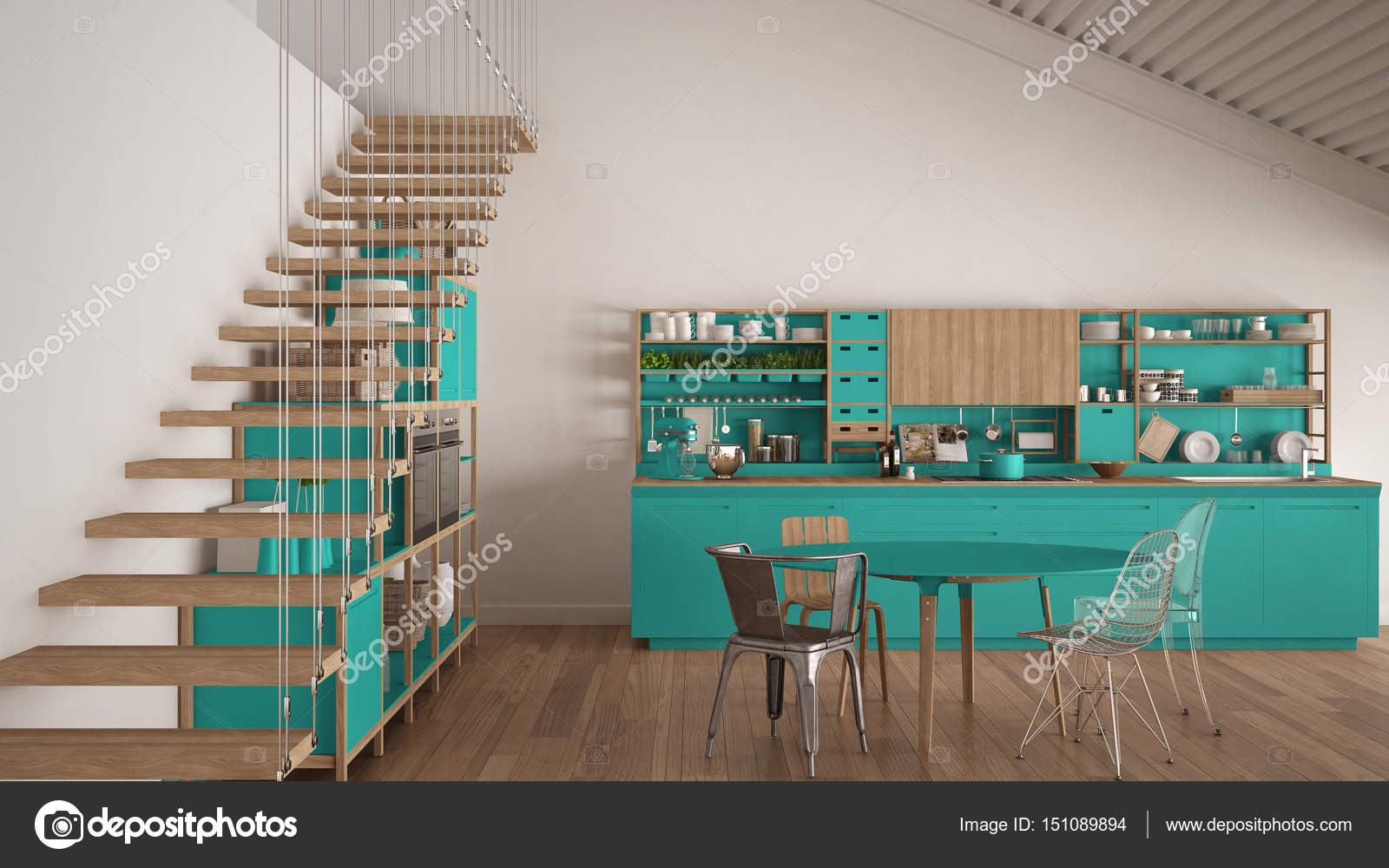 Minimalist white and turquoise wooden kitchen, loft with stairs ...