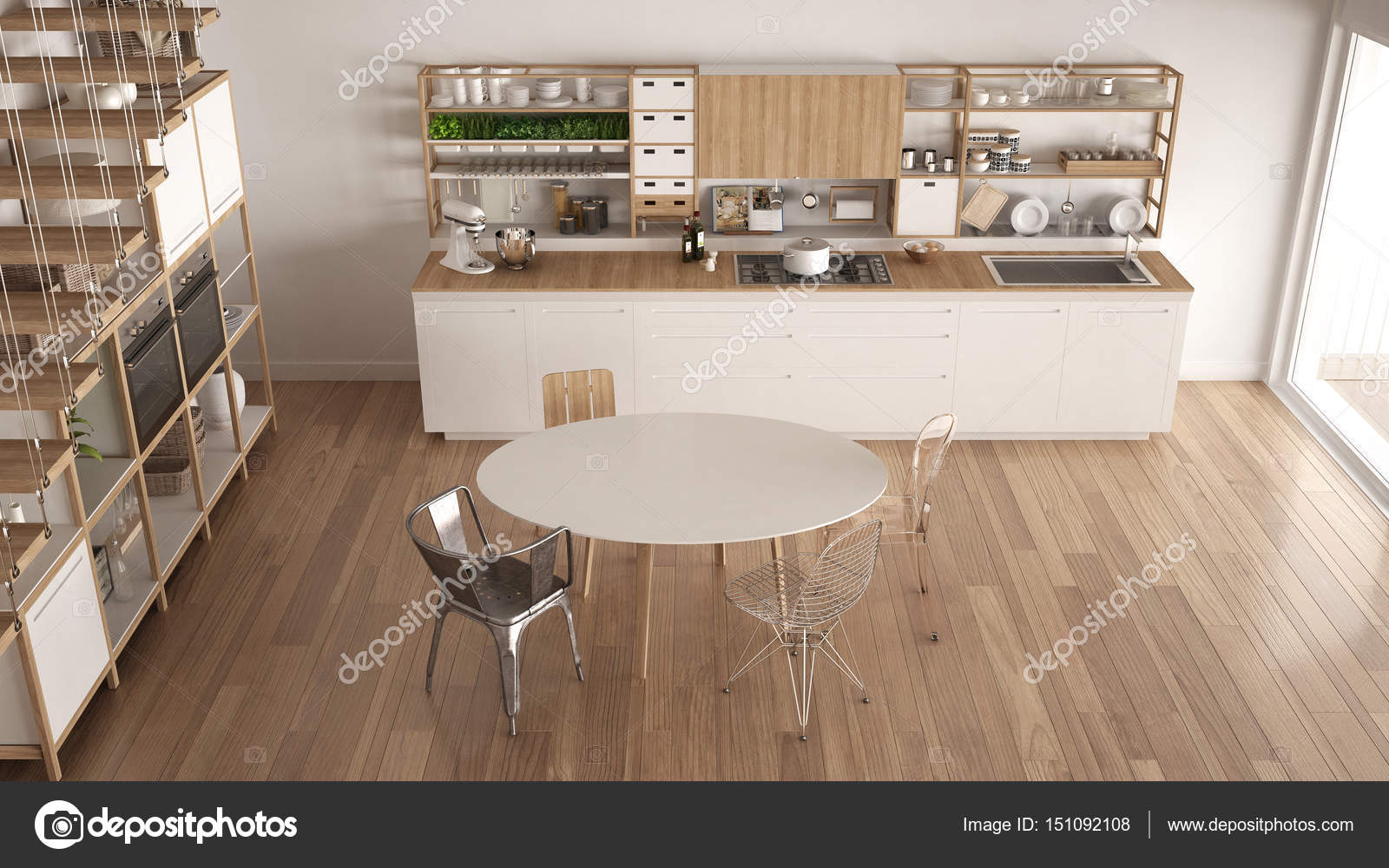 Cucina In Legno Bianca Minimalista Soppalco Con Scale Scand