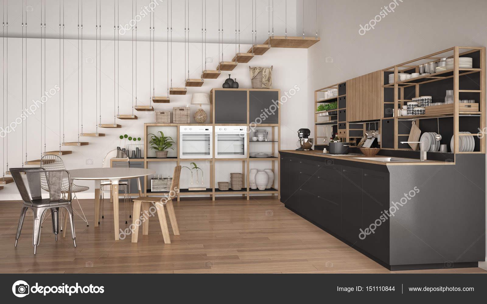 Cucina minimalista bianca e grigia in legno, soppalco con scale ...