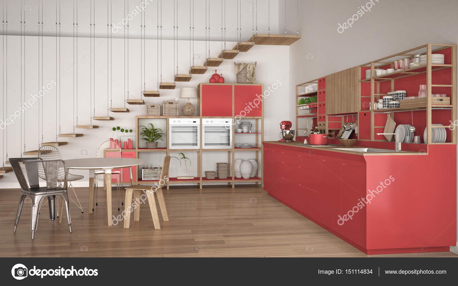 Cucina minimalista bianca e rossa in legno, soppalco con scale ...