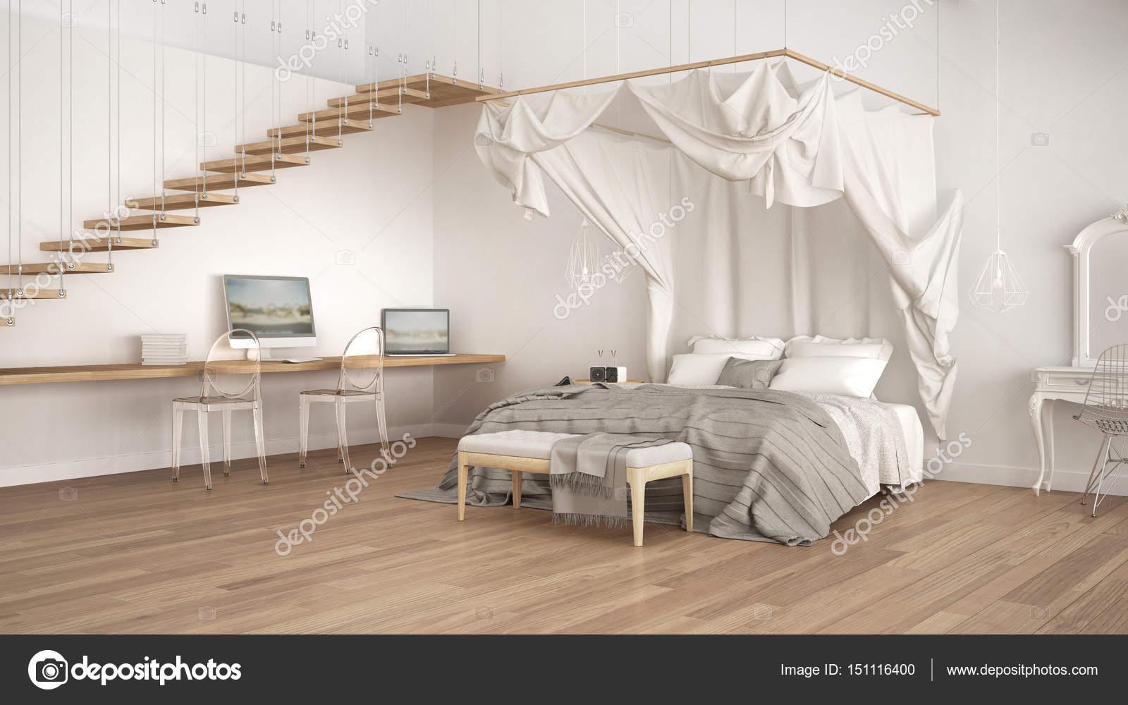 Himmelbett in minimalistische weiße Schlafzimmer mit Arbeitsplatz ...