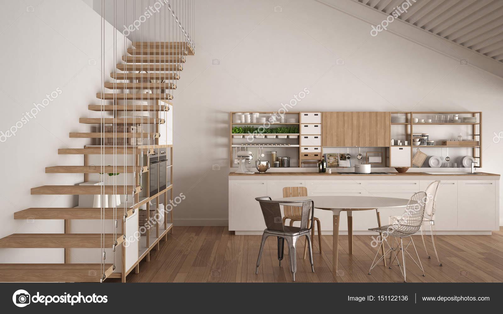 Cucina in legno bianca minimalista, soppalco con scale, scand ...