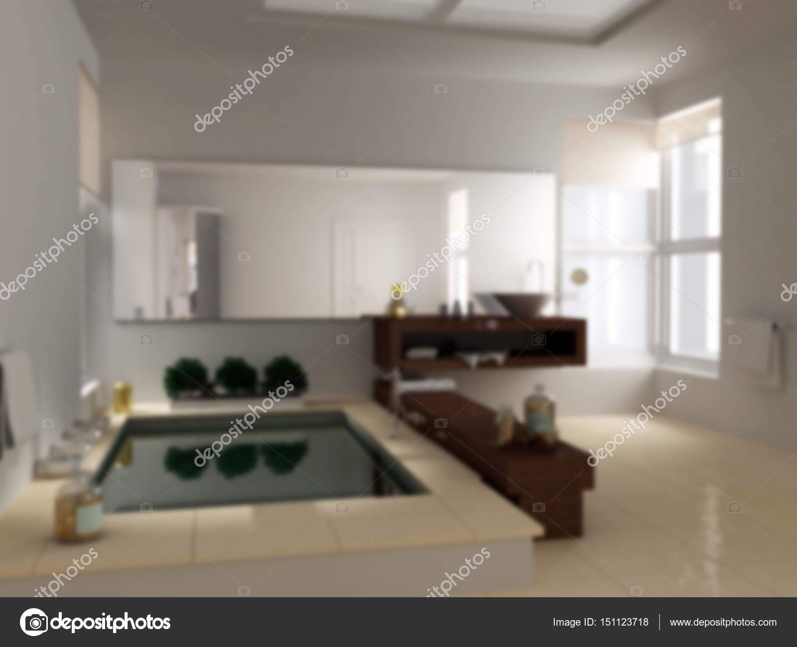Vervagen de achtergrond interieur minimalistische badkamer met