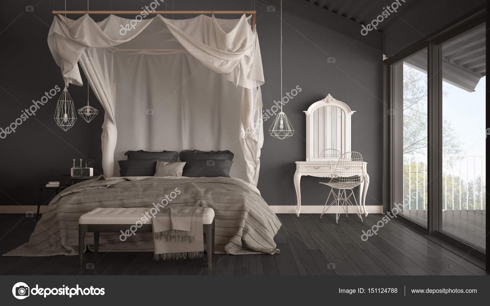 łóżko Z Baldachimem W Minimalistyczne Szara Sypialnia Z