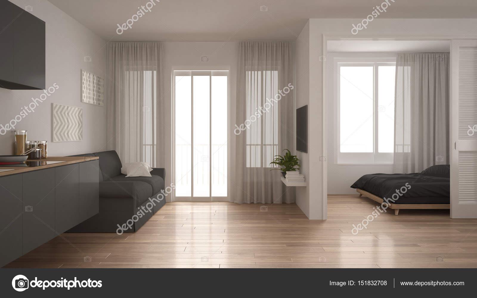 Mały Apartament Z Kuchnia Pokój Dzienny I Sypialnia Białe