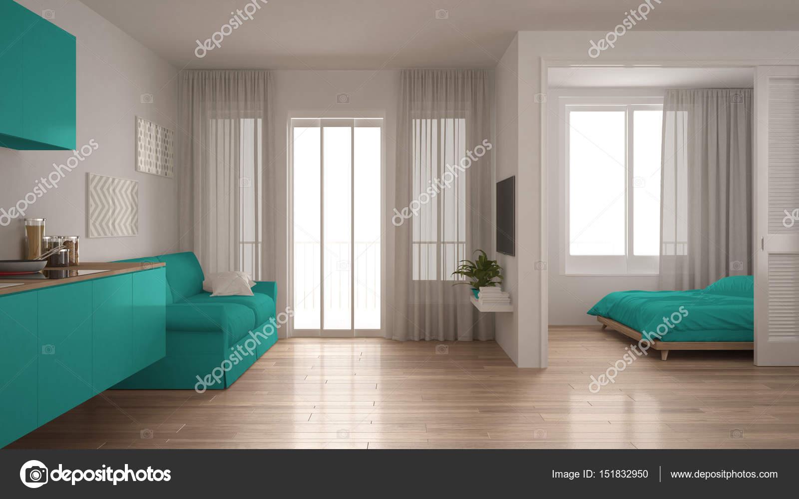 Kleine Minimalistische Slaapkamer : Klein appartement met keuken woonkamer en slaapkamer wit en