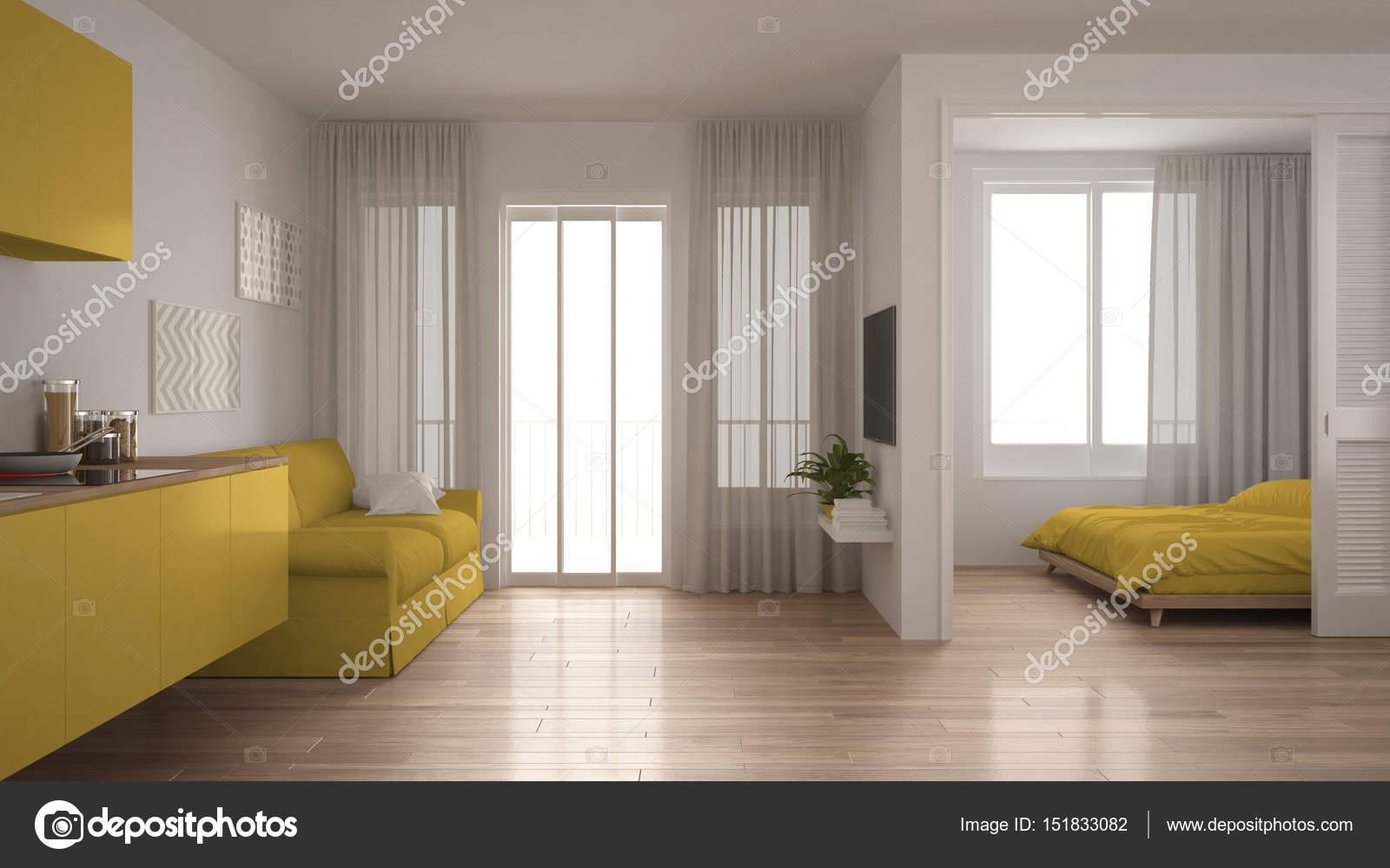 Piccolo appartamento con cucina, soggiorno e camera da letto, bianco ...