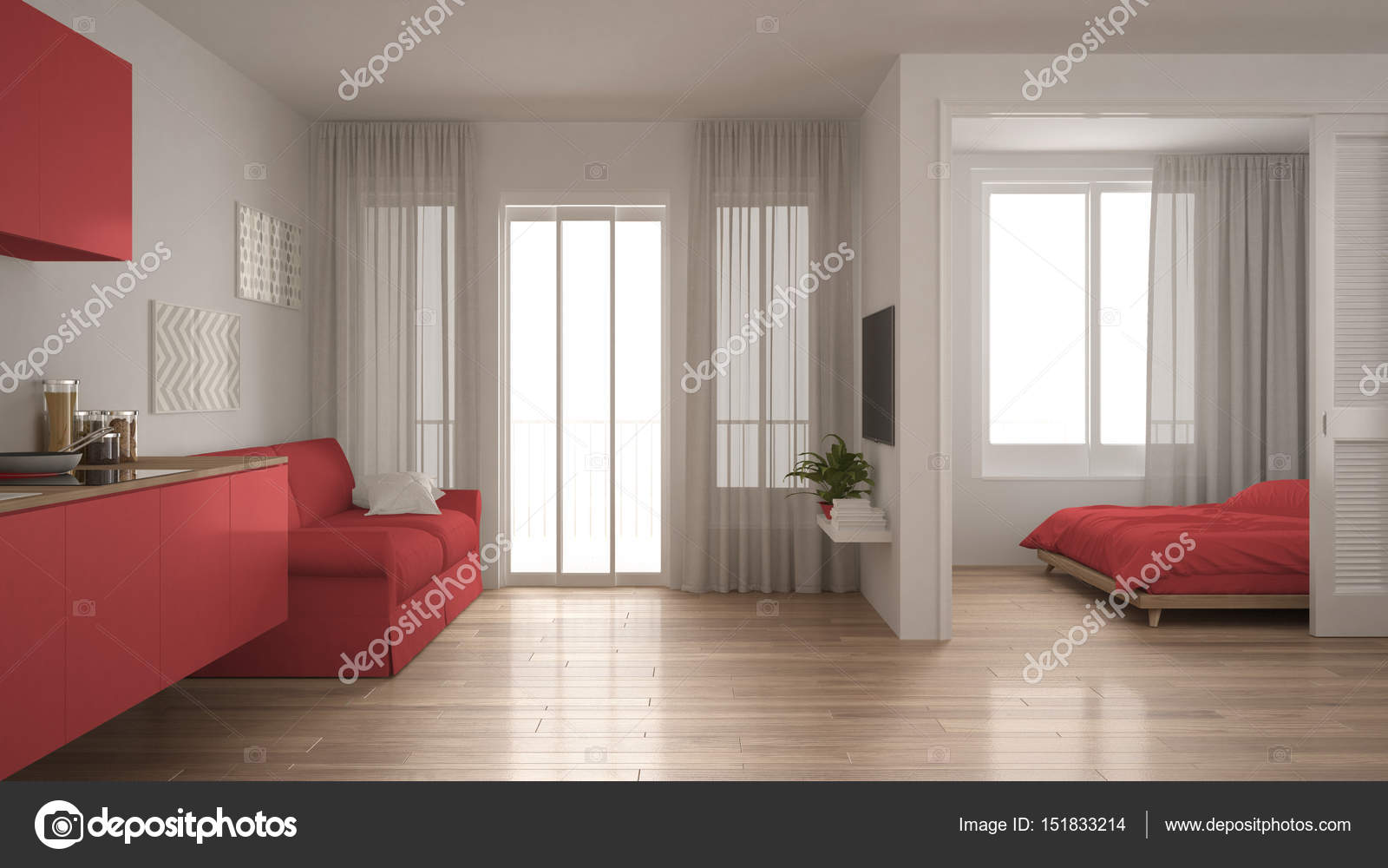 Kleine Wohnung mit Küche, Wohnzimmer und Schlafzimmer, weiß und ...