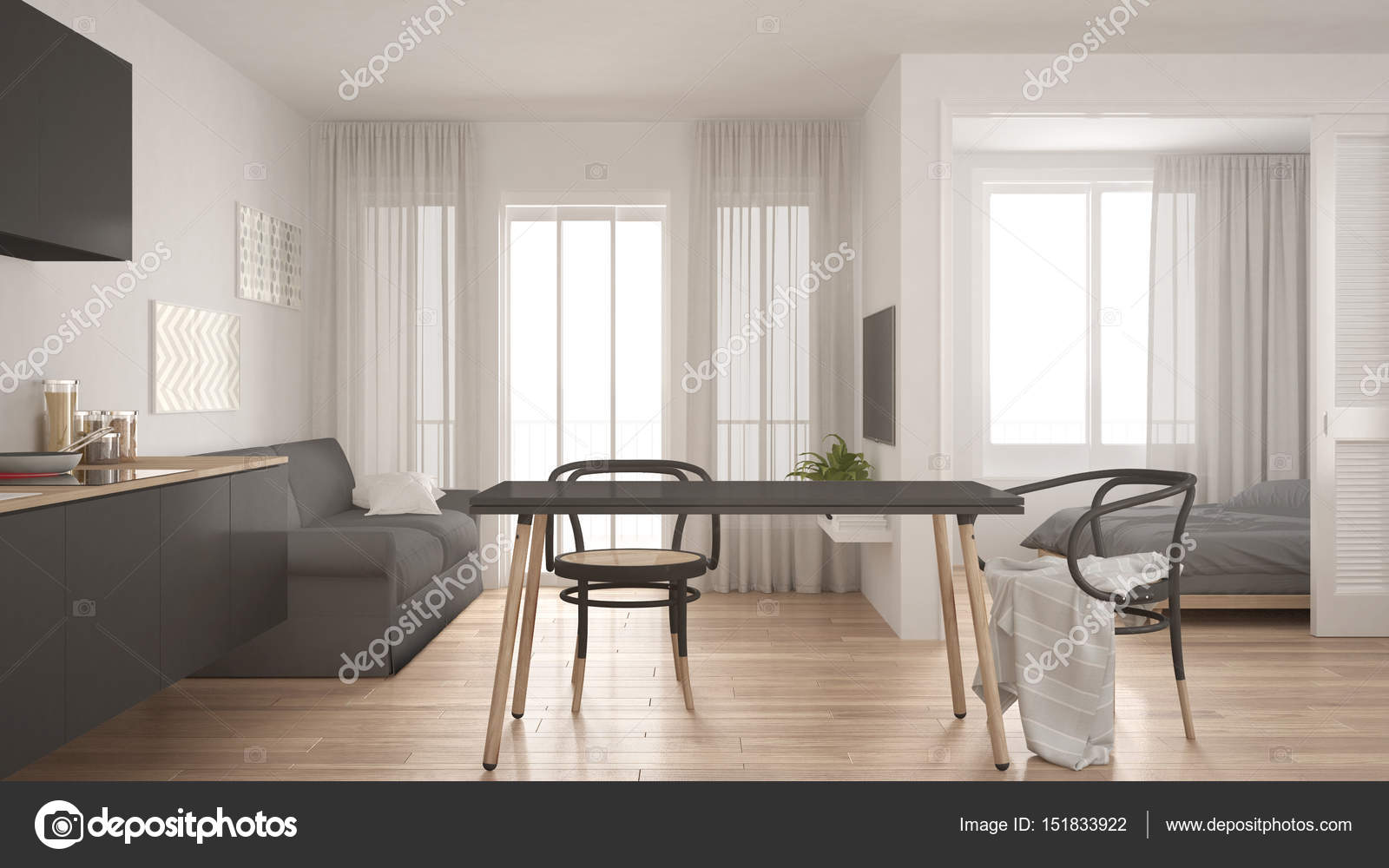 Minimal moderno cucina e soggiorno con camera da letto nel backg ...