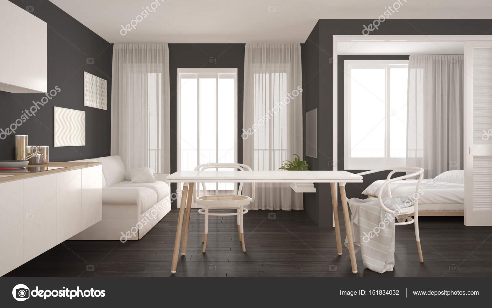 Minimal moderno cucina e soggiorno con camera da letto nel ...
