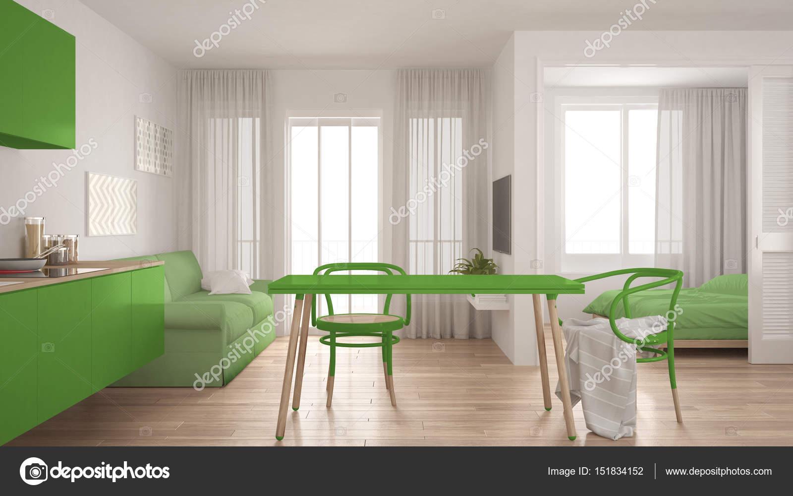 Moderne minimale keuken en woonkamer met slaapkamer in het backg