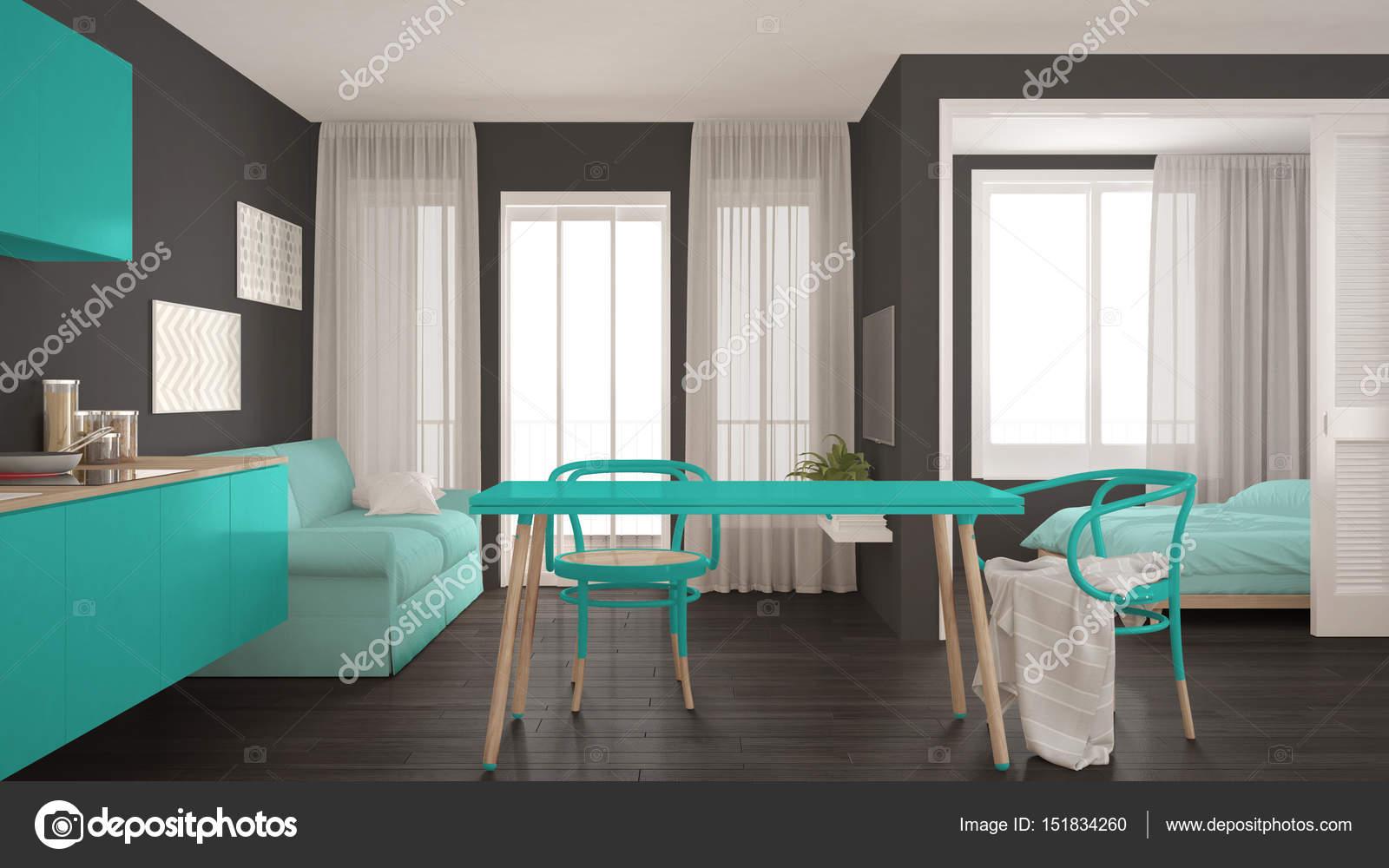 Moderne Minimal Küche Und Wohnzimmer Mit Schlafzimmer Im Hintergrund,  Kleine Wohnung, Grau Und Türkis Innenarchitektur U2014 Foto Von ArchiVIz