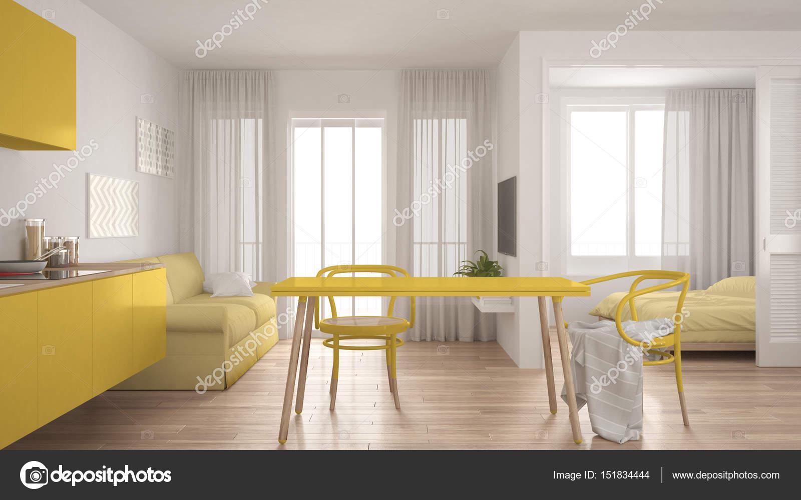 Moderne minimal Küche und Wohnzimmer mit Schlafzimmer in der backg ...