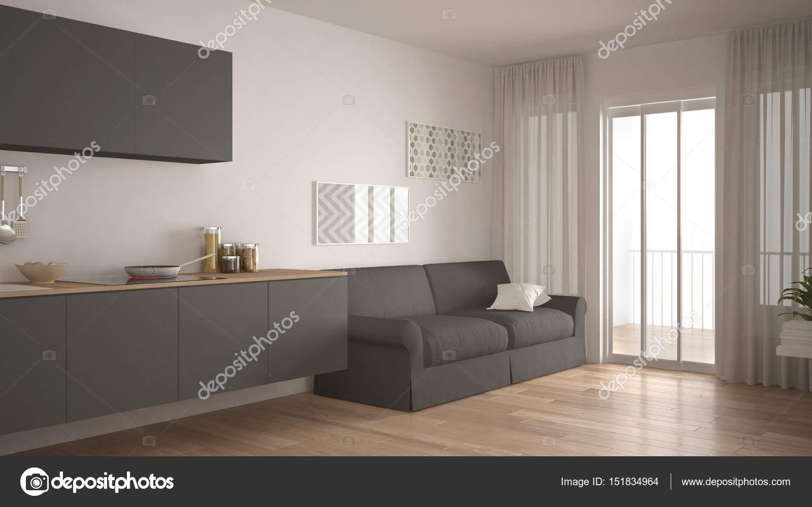 Pavimento Bianco E Grigio : Cucina scandinava con divano pavimento in parquet bianco e