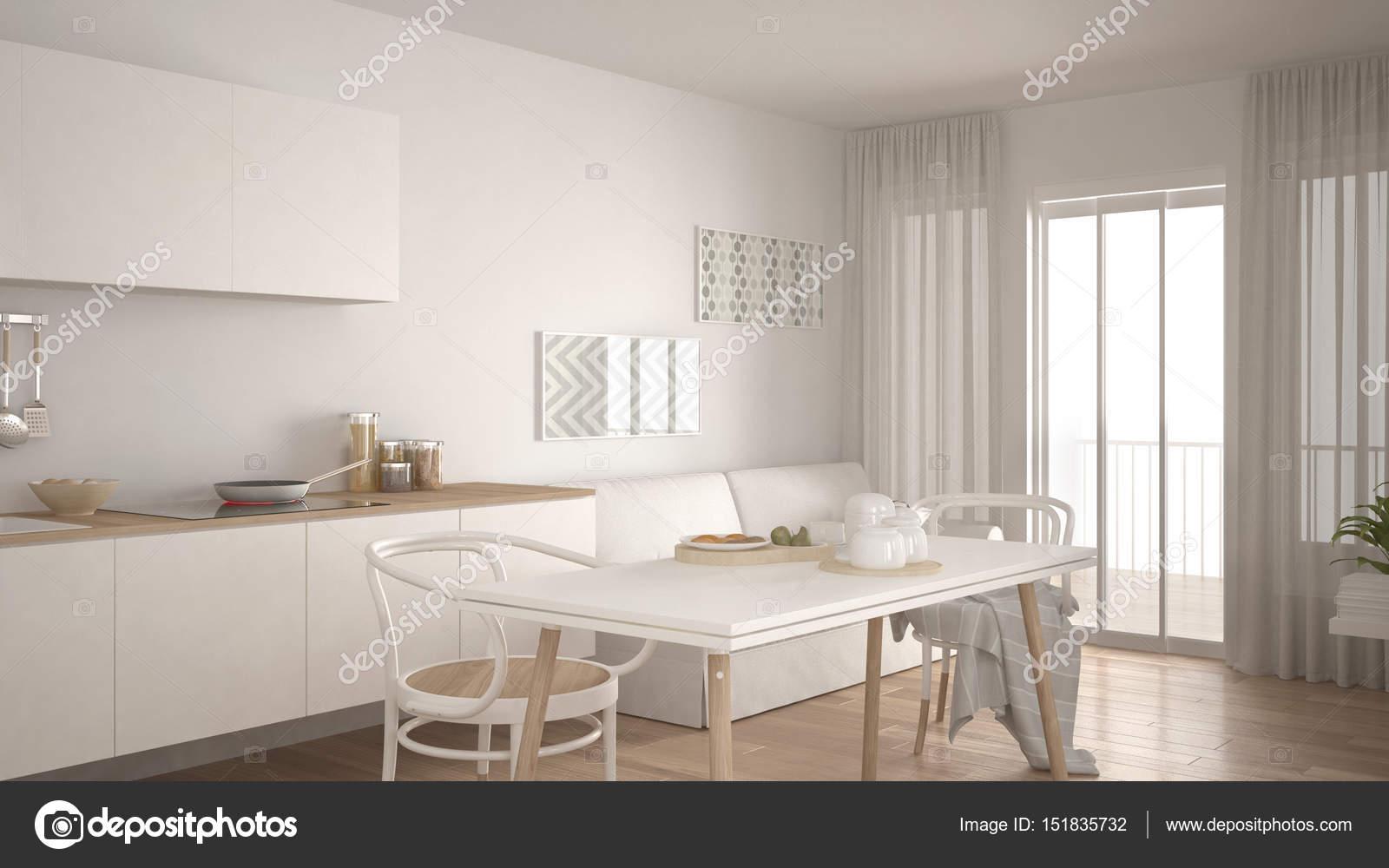 Cucina scandinava con divano e tavolo, pavimento in parquet — Foto ...